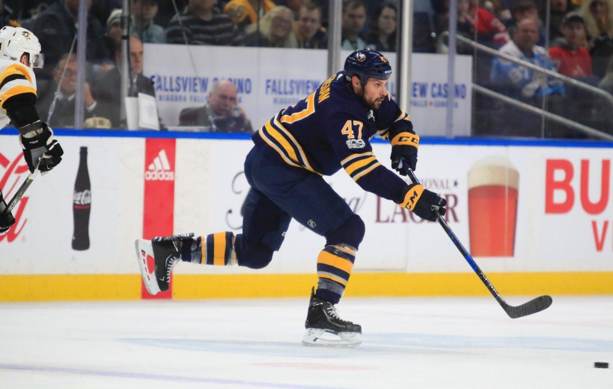 Sabres defenseman Zach Bogosian played 20:48 during his season debut Friday. (Harry Scull Jr./Buffalo News)