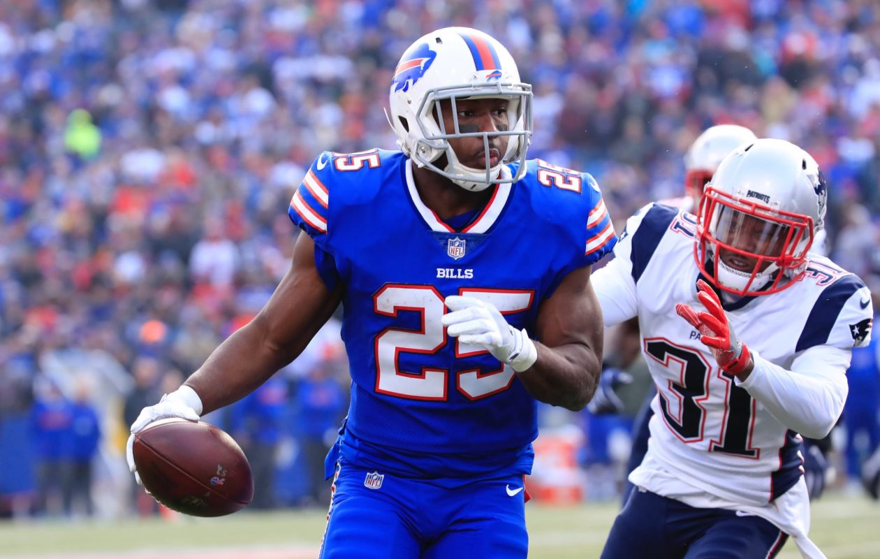 Buffalo Bills running back LeSean McCoy is 195 rushing yards away from 10,000 in his career. Only 29 running backs in NFL history have run for 10,000 or more yards. (Harry Scull Jr./Buffalo News)