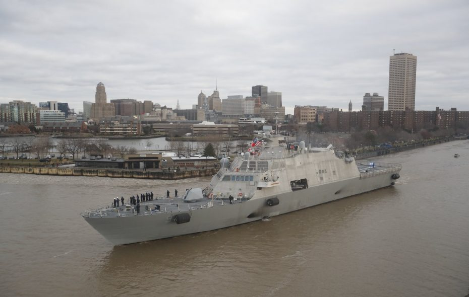 The new USS Little Rock leaves the Buffalo harbor after it was commissioned here last Saturday alongside its namesake. (Mark Mulville/Buffalo News)