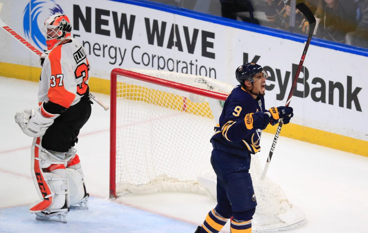 It took until the third period, but Evander Kane and the Sabres finally got to Philadelphia goaltender Brian Elliott. (Harry Scull Jr./Buffalo News)