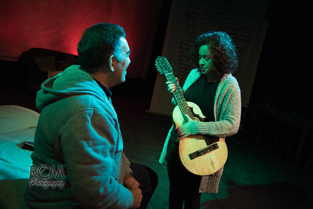 Victor Morales and Alexia Rose Guzmán appear in the Raíces Theatre production of 'Desde el Puente.'