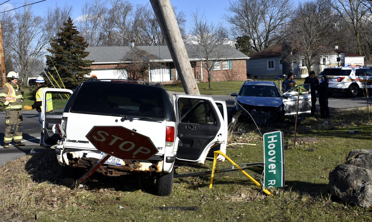 The aftermath of a two-vehicle crash at Lockport and Hoover roads in Wheatfield Dec. 6, 2017. (Larry Kensinger/Special to The News)