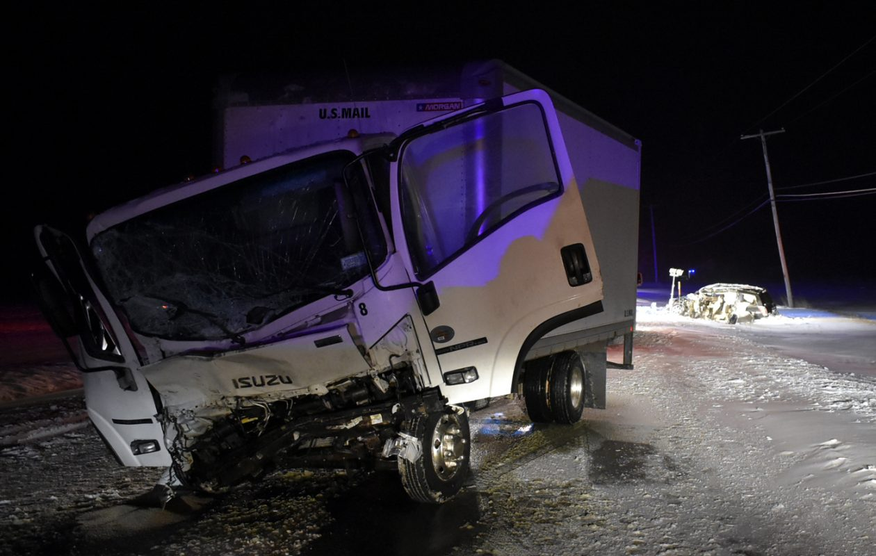 The scene of Tuesday night's collision between a box truck and a car on Hartland Road. (Larry Kensinger/Special to The News)
