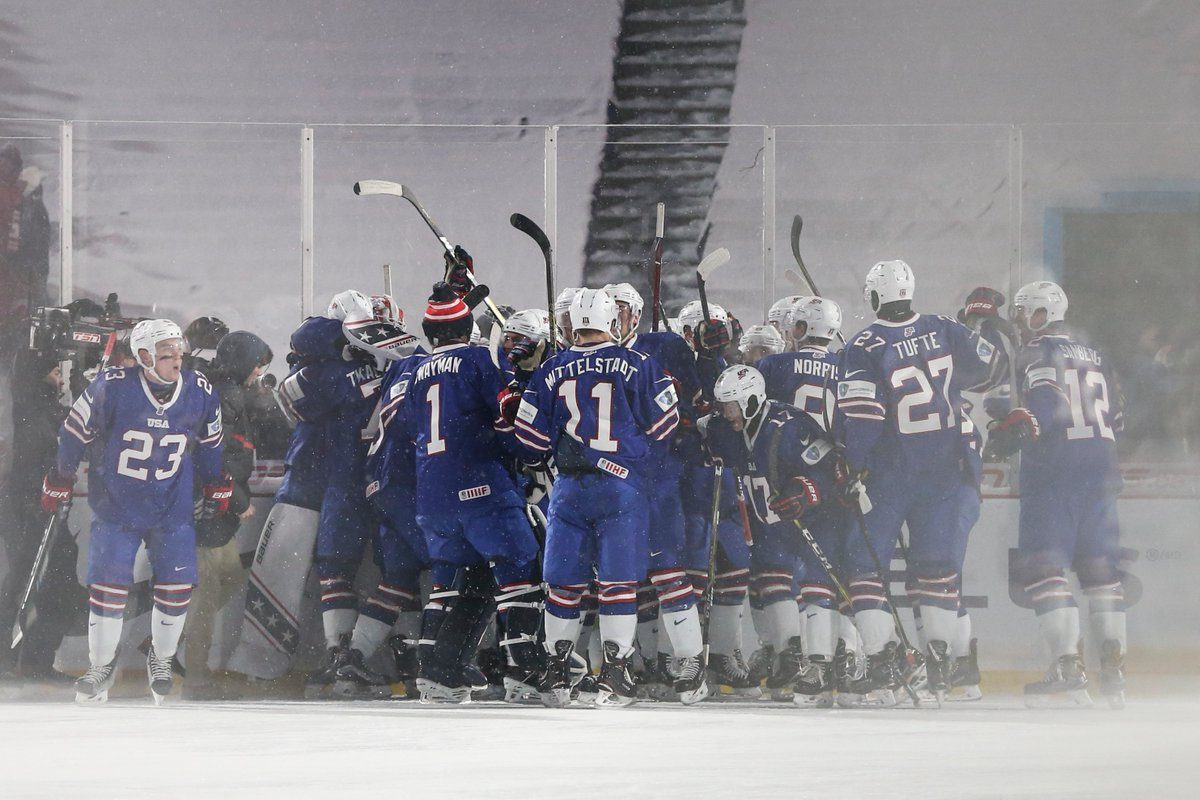 The U.S. celebrates its shootout victory. (James P. McCoy/Buffalo News)