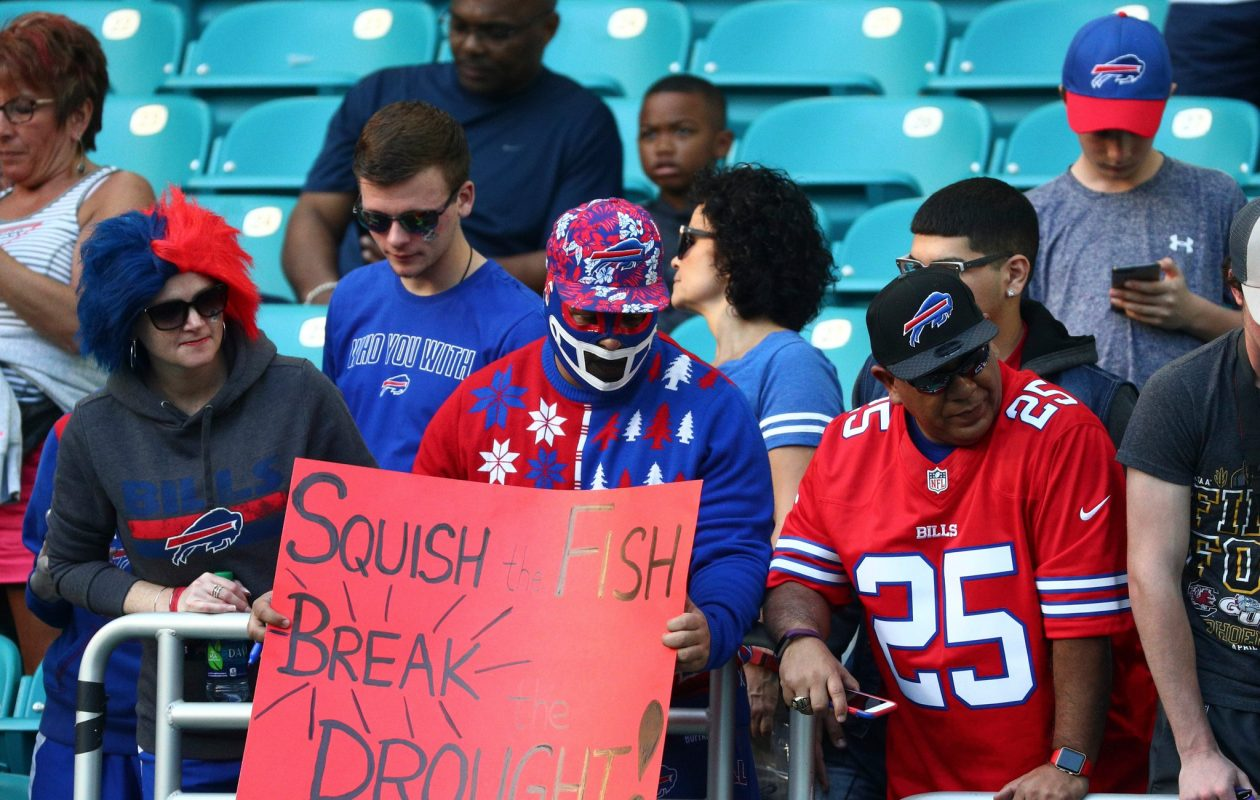 Bills fans wait for game against the Miami Dolphins to start at Hard Rock Stadium in Miami Gardens, Florida on Sunday, Dec. 31, 2017. (James P. McCoy/Buffalo News)