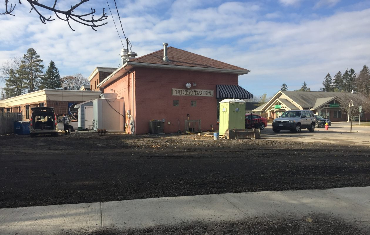 The giant sinkhole that opened in East Aurora in the parking lot of Mikey Dee's cafe has been filled in. Michael DiJoseph, co-owner of the restaurant, said it will reopen on Saturday, Dec. 2, 2017.  (Mark Mulville/The Buffalo News)