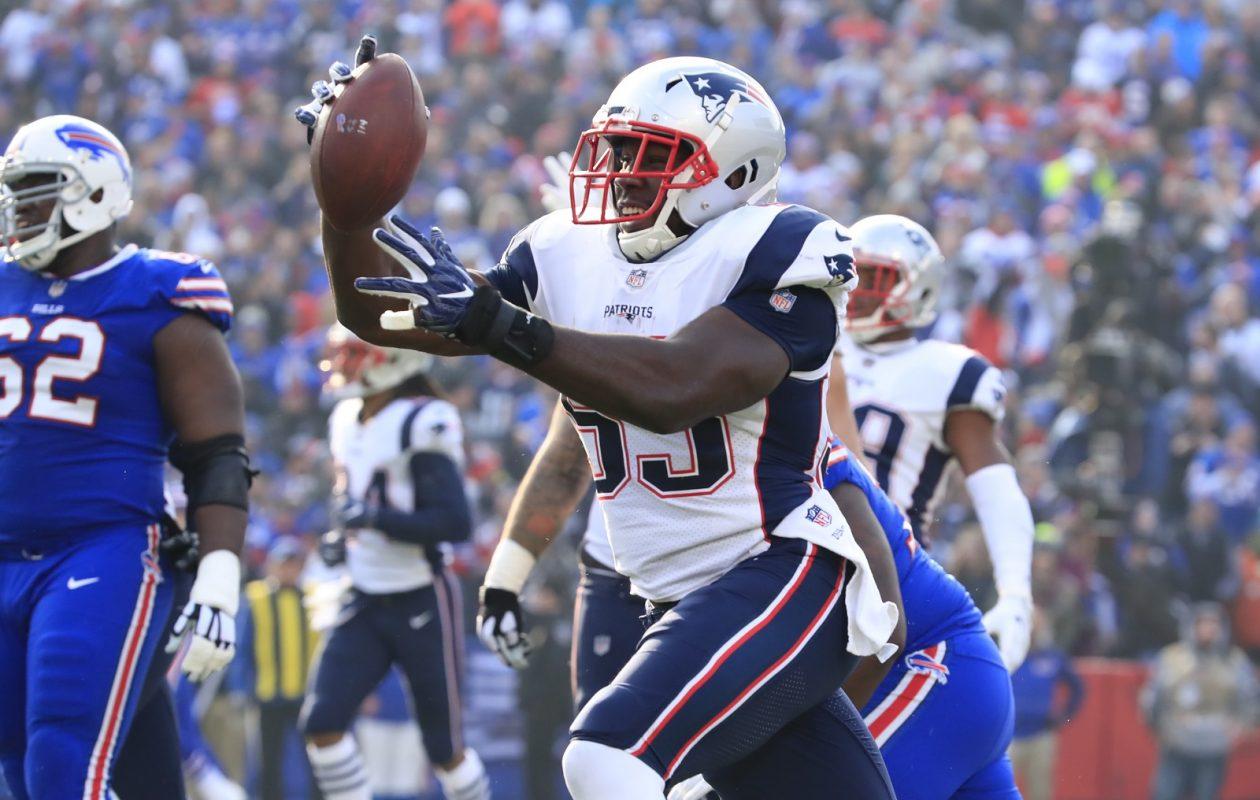 New England Patriots Eric Lee intercepts Buffalo Bills quarterback Tyrod Taylor during first quarter action at New Era Field. (Harry Scull Jr./ Buffalo News)