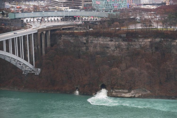 The Falls Street tunnel is a sewer outlet in the Niagara River in Niagara Falls. (Sharon Cantillon/Buffalo News)