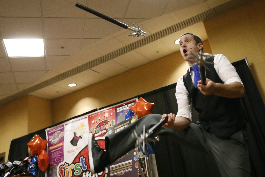 Nels Ross of InJest.com demonstrates part of his act, which he will perform on New Year's Eve at the annual First Night event at the Buffalo Niagara Convention Center. (Derek Gee/Buffalo News)