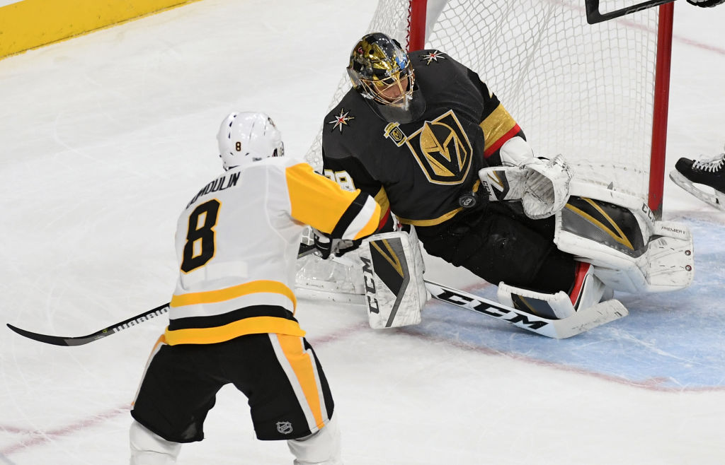 Marc-Andre Fleury's save on Brian Dumoulin Thursday night in Vegas brought back memories of his save on Nicklas Lidstrom that clinched the 2009 Stanley Cup for the Penguins (Getty Images).