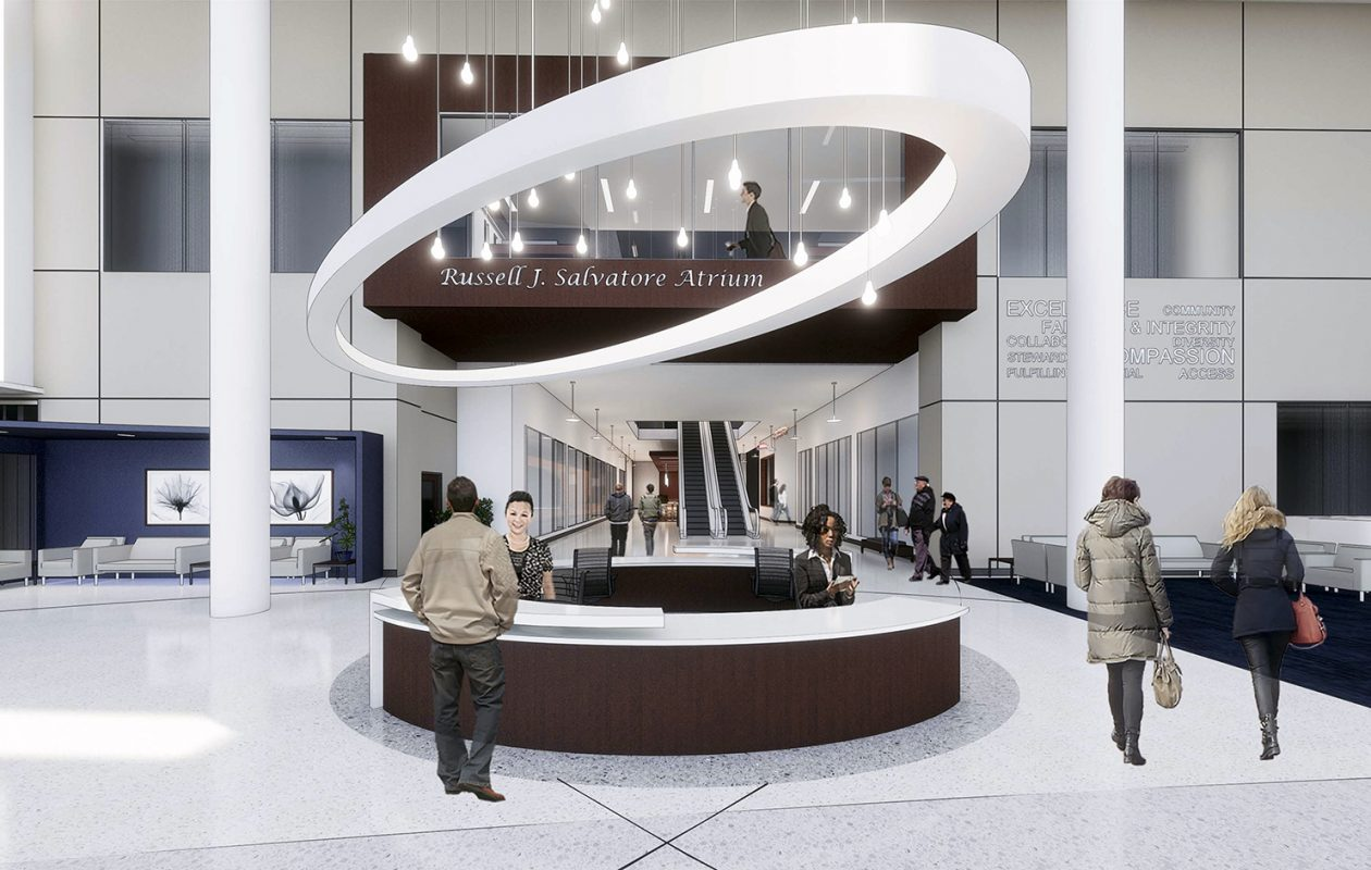ECMC has shared renderings of the future Russell J. Salvatore Atrium that will become the main entrance to the hospital, thanks to Salvatore's $1 million gift. Work on the entrance begins in the spring. (Rendering by Clark Patterson Lee)
