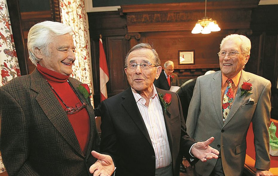 """Rick Azar, Irv Weinstein and Tom Jolls, former television journalists for WKBW, chat before appearing in the """"Giants of Buffalo: Television"""" program at the Buffalo History Museum on Friday, March 21, 2014. (News file photo)"""