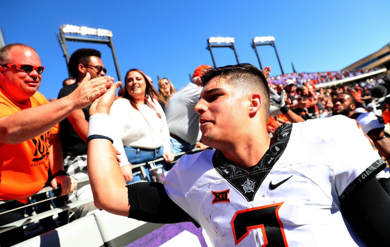 Quarterback Mason Rudolph of Oklahoma State  (Tom Pennington/Getty Images)