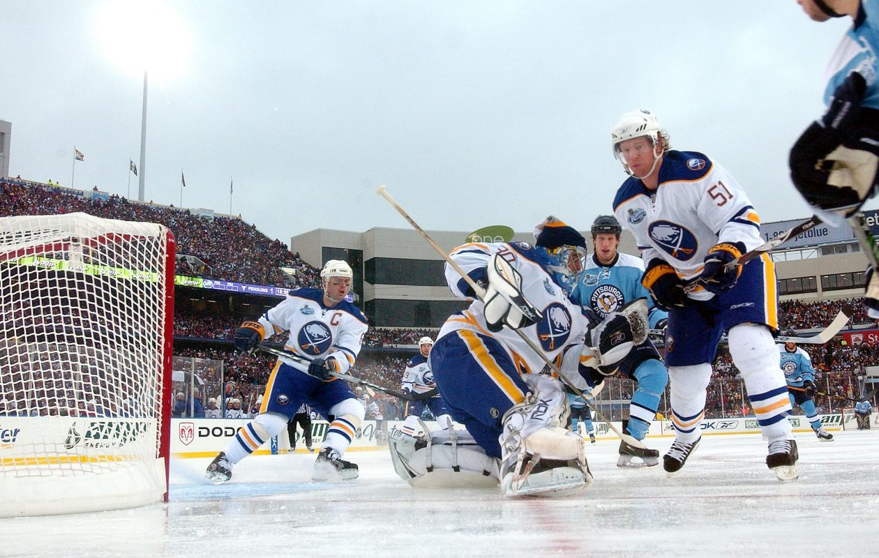 As the 10-year anniversary of the original Winter Classic approaches, former Sabres goalie Ryan Miller and defenseman Brian Campbell (51) will be featured in an NHL Network documentary. (Getty Images)