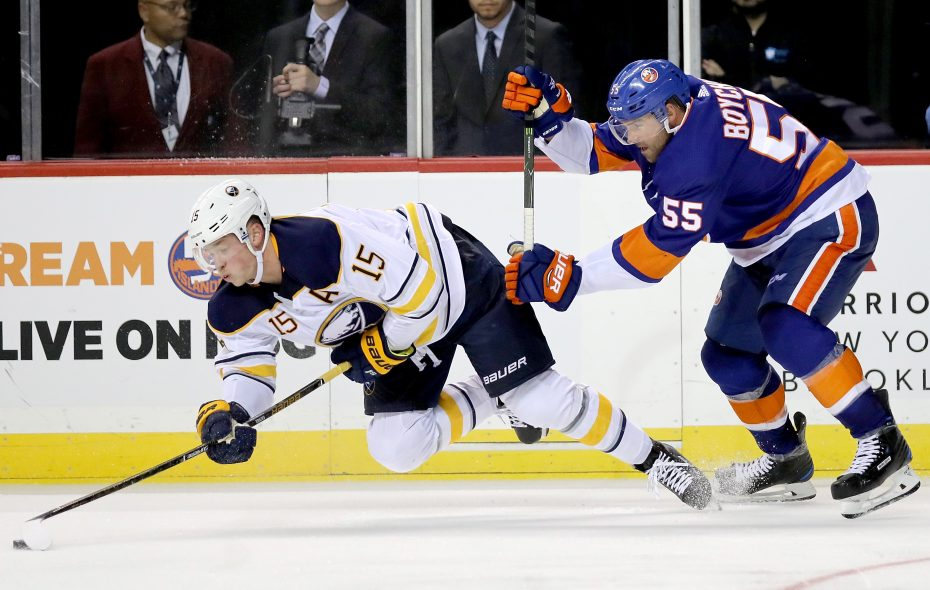 Jack Eichel and the Sabres suffered a 6-3 loss to Johnny Boychuk and the Islanders in October. (Getty Images)