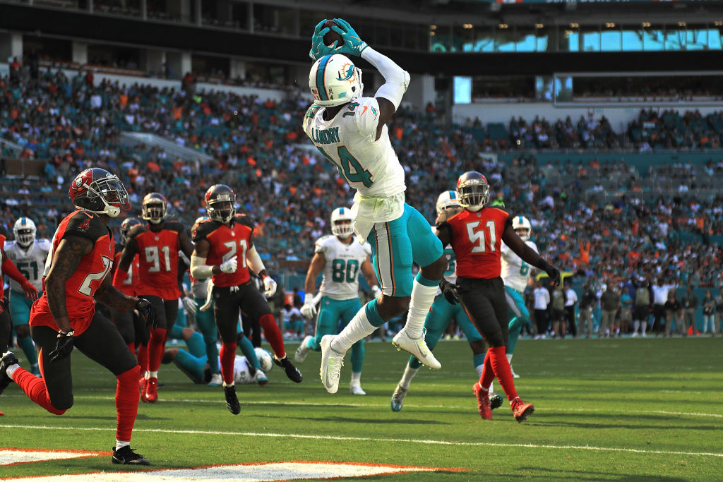 Jarvis Landry pulls down a touchdown during a game at Hard Rock Stadium  on November 19, 2017 in Miami Gardens, Florida. (Getty Images)