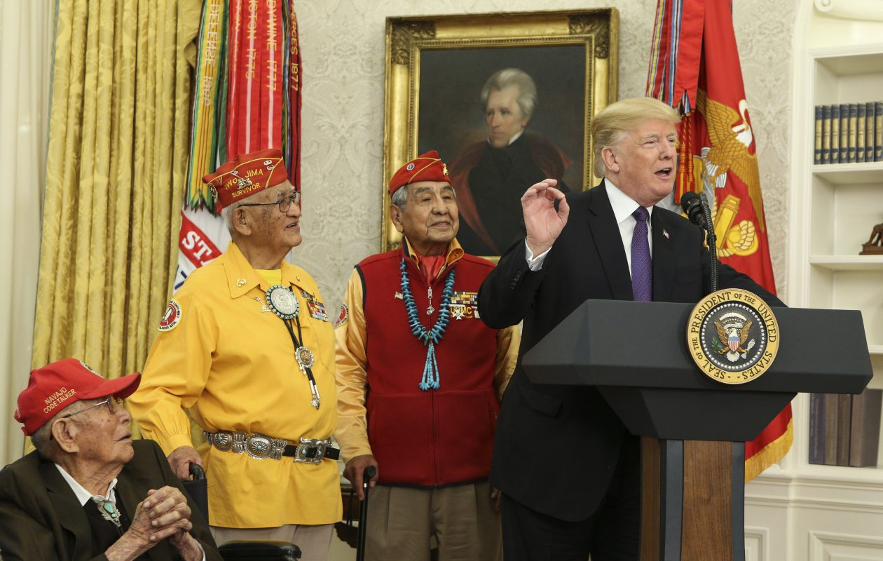 President Donald Trump  speaks during an event honoring members of the Native American code talkers in the Oval Office on Nov. 27.  Trump said: 'You were here long before any of us were here. Although we have a representative in Congress who they say was here a long time ago. They call her Pocahontas.' in reference to his nickname for Sen. Elizabeth Warren. (Getty Images)