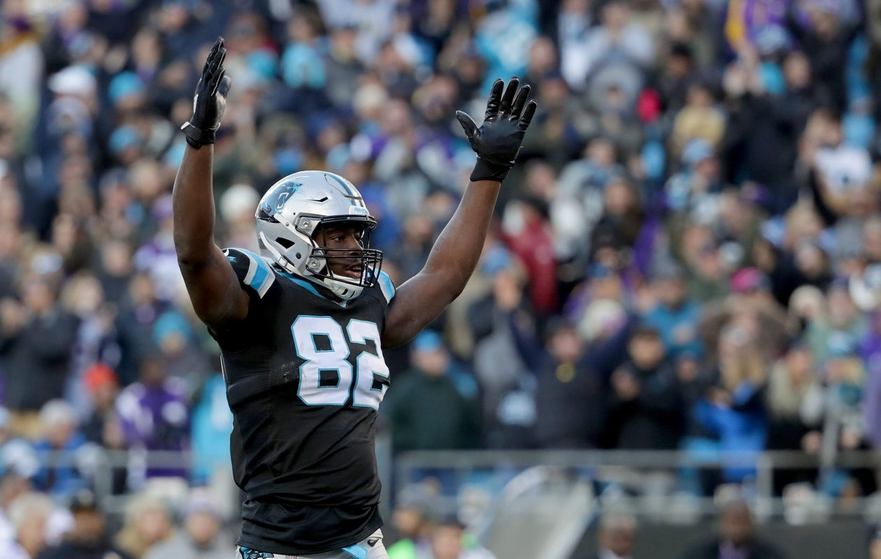 Chris Manhertz and the Carolina Panthers ended the Minnesota Vikings' eight-game winning streak. (Getty Images)