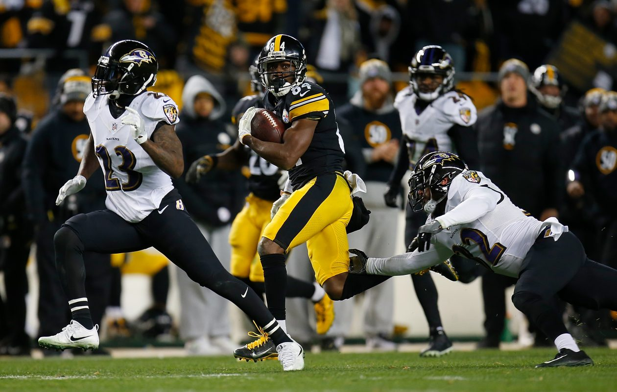 Antonio Brown of the Pittsburgh Steelers runs up field after a catch in the second half during the game against the Baltimore Ravens at Heinz Field on Dec. 10, 2017, in Pittsburgh. (Justin K. Aller/Getty Images)