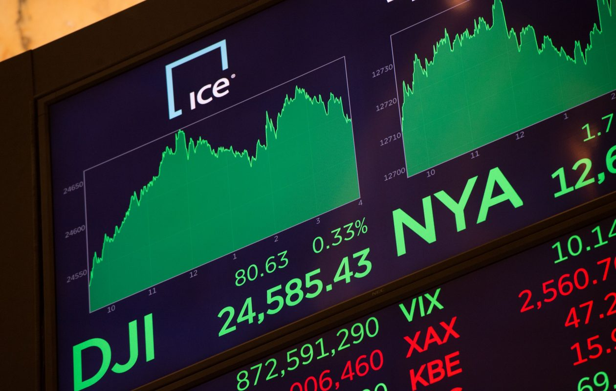 A video board shows the day's numbers after the closing bell of the Dow Industrial Average at the New York Stock Exchange on December 13. The Dow finished at another record, at 24,591.91, up 0.4 percent, its fourth straight record close. (BRYAN R. SMITH/AFP/Getty Images)