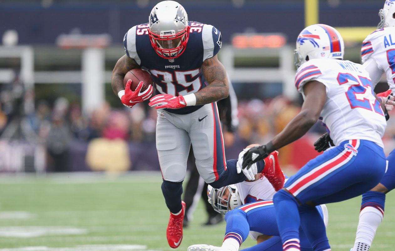 FOXBORO, MA - DECEMBER 24: Mike Gillislee #35 of the New England Patriots carries the ball during the first quarter of a game against the Buffalo Bills at Gillette Stadium on December 24, 2017 in Foxboro, Massachusetts.  (Photo by Maddie Meyer/Getty Images)