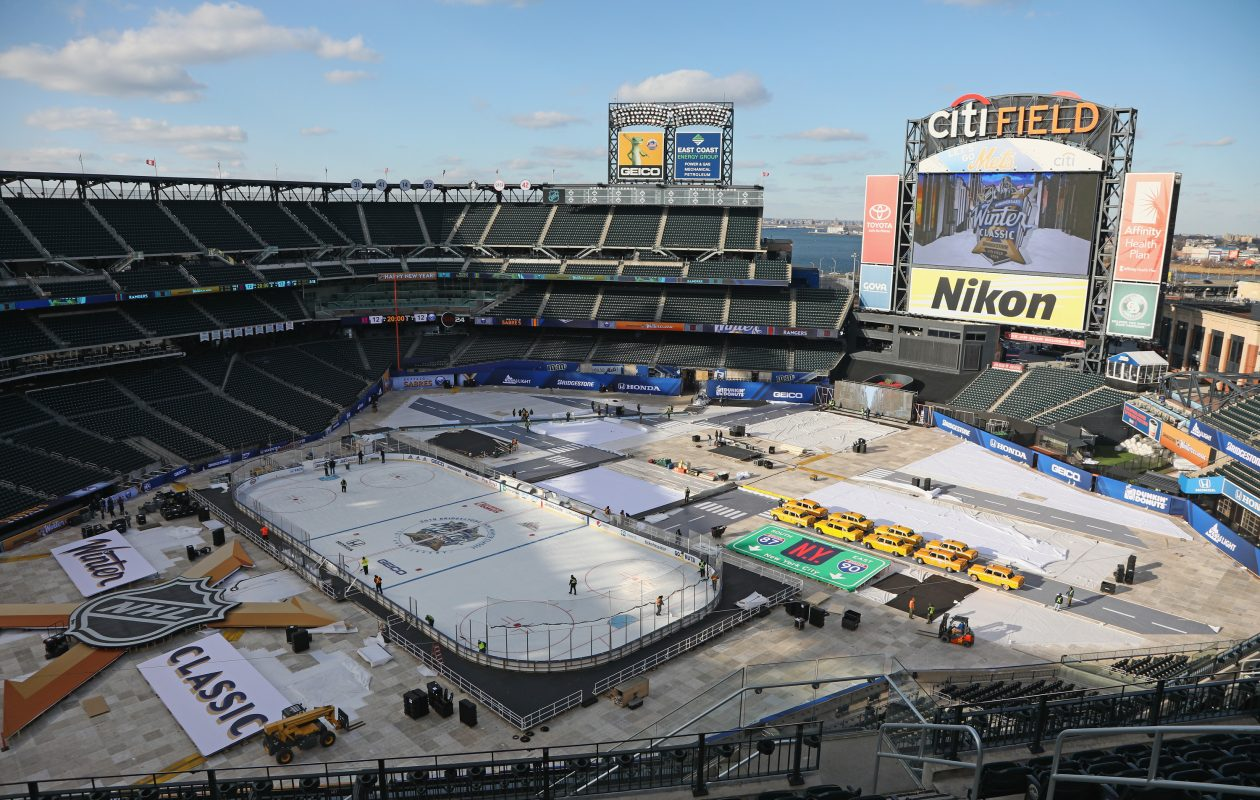 Work continues on Citi Field, which will take its turn in the NHL spotlight Monday with the Winter Classic. (Getty Images)