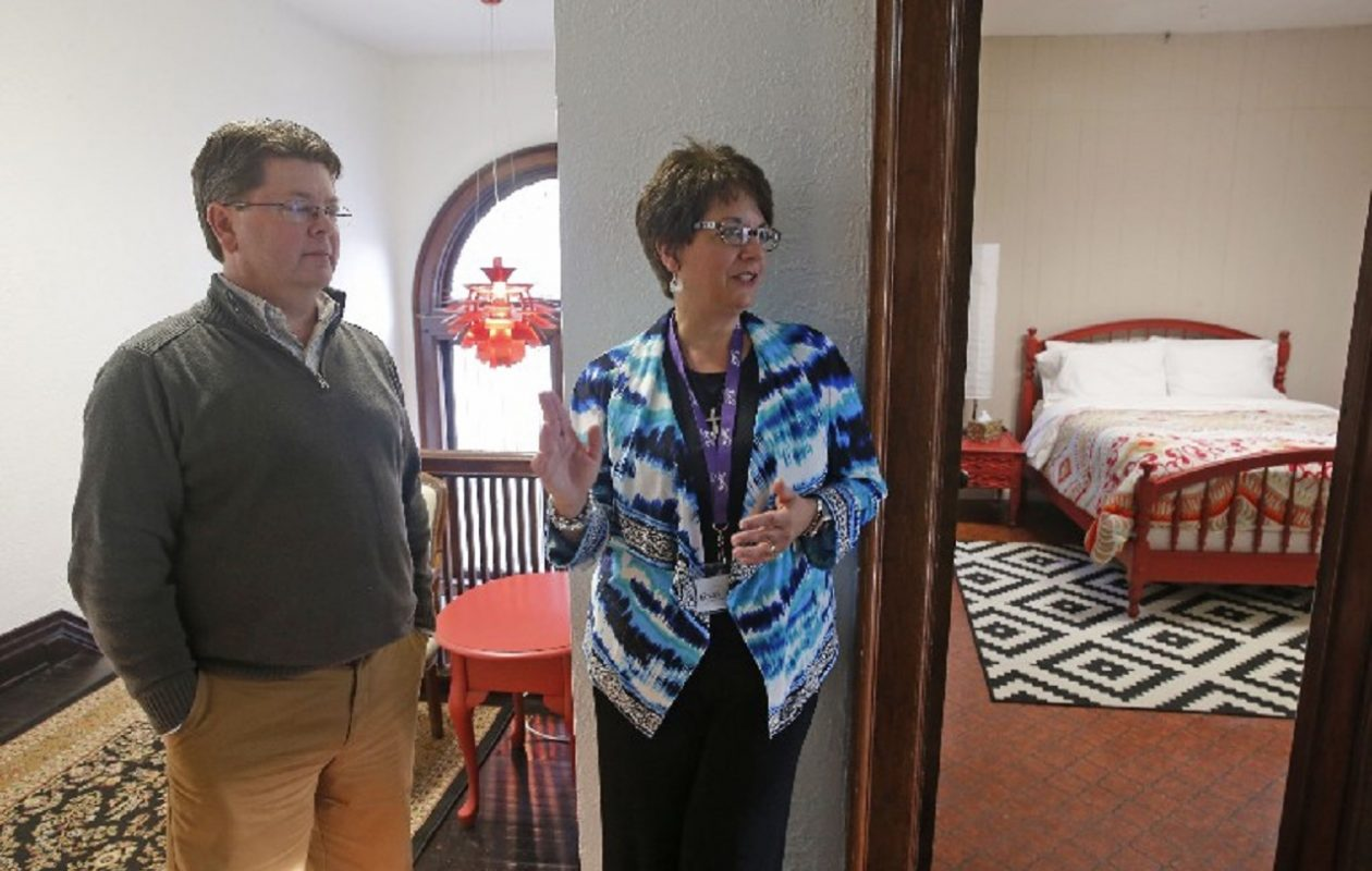 Kevin McLaughlin, left, director of mission and philanthropy at the new nine-room Grace Guest House in South Buffalo, and Cynthia Battista, founder and president, hope those with a need to stay there find that it serves more as a home away from home than a hotel. (Robert Kirkham/Buffalo News)