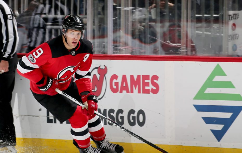 Taylor Hall's big year for the Devils hit a stumbling block Friday against the Sabres when his go-ahead goal was wiped out on an offside challenge (Getty Images).