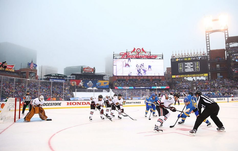 The Blackhawks met the Blues in last year's Winter Classic at Busch Stadium and will return against the Bruins next year at Notre Dame (Getty Images).