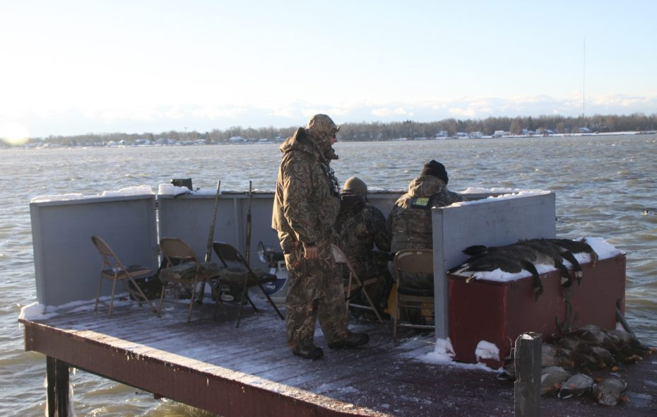 Our dock blind offered some shelter from the elements.