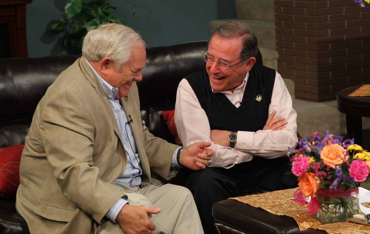 Irv Weinstein, right, enjoyed a laugh with former GM Phil Beuth on AM Buffalo with Linda Pelldgrino in 2012. (Sharon Cantillon/ Buffalo News)