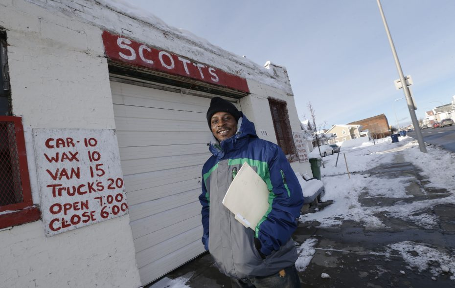 Jermaine Scott has dreams to open his own car wash like his father's Scott's Car Wash at Jefferson Avenue and Broadway. Scott's father has run the business for 54 years.  (Robert Kirkham/Buffalo News)