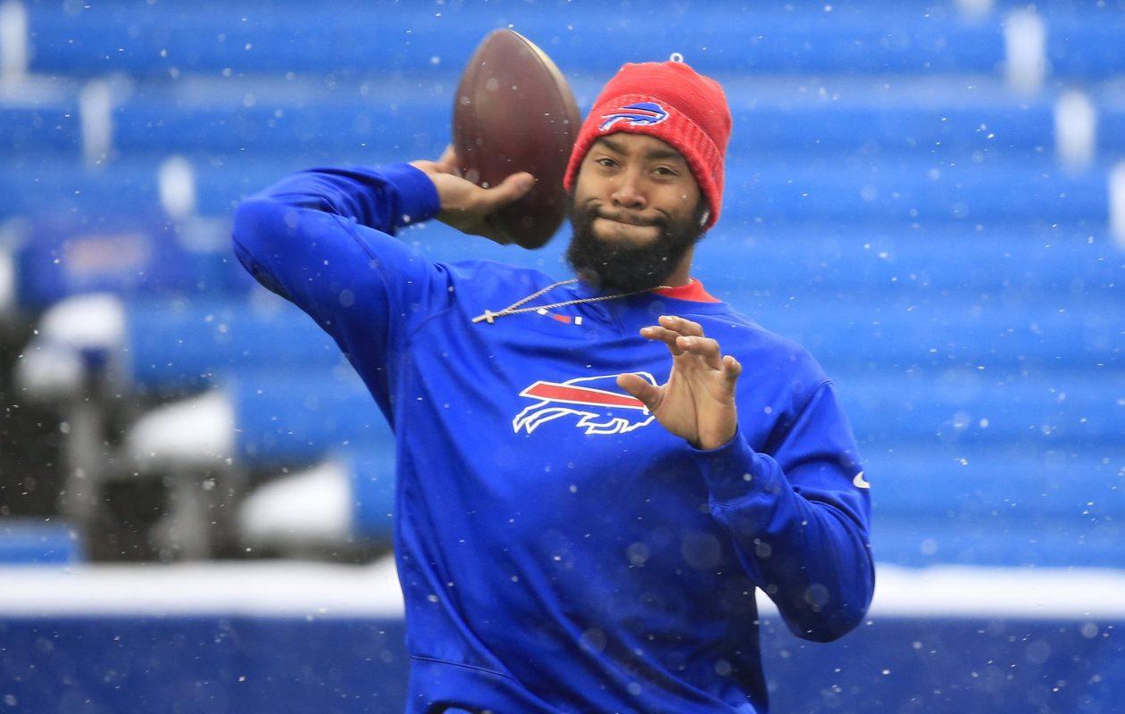 Bills backup quarterback Joe Webb warms up before the Bills-Colts game on Dec. 10, 2017, at New Era Field. (Harry Scull Jr./News file photo)