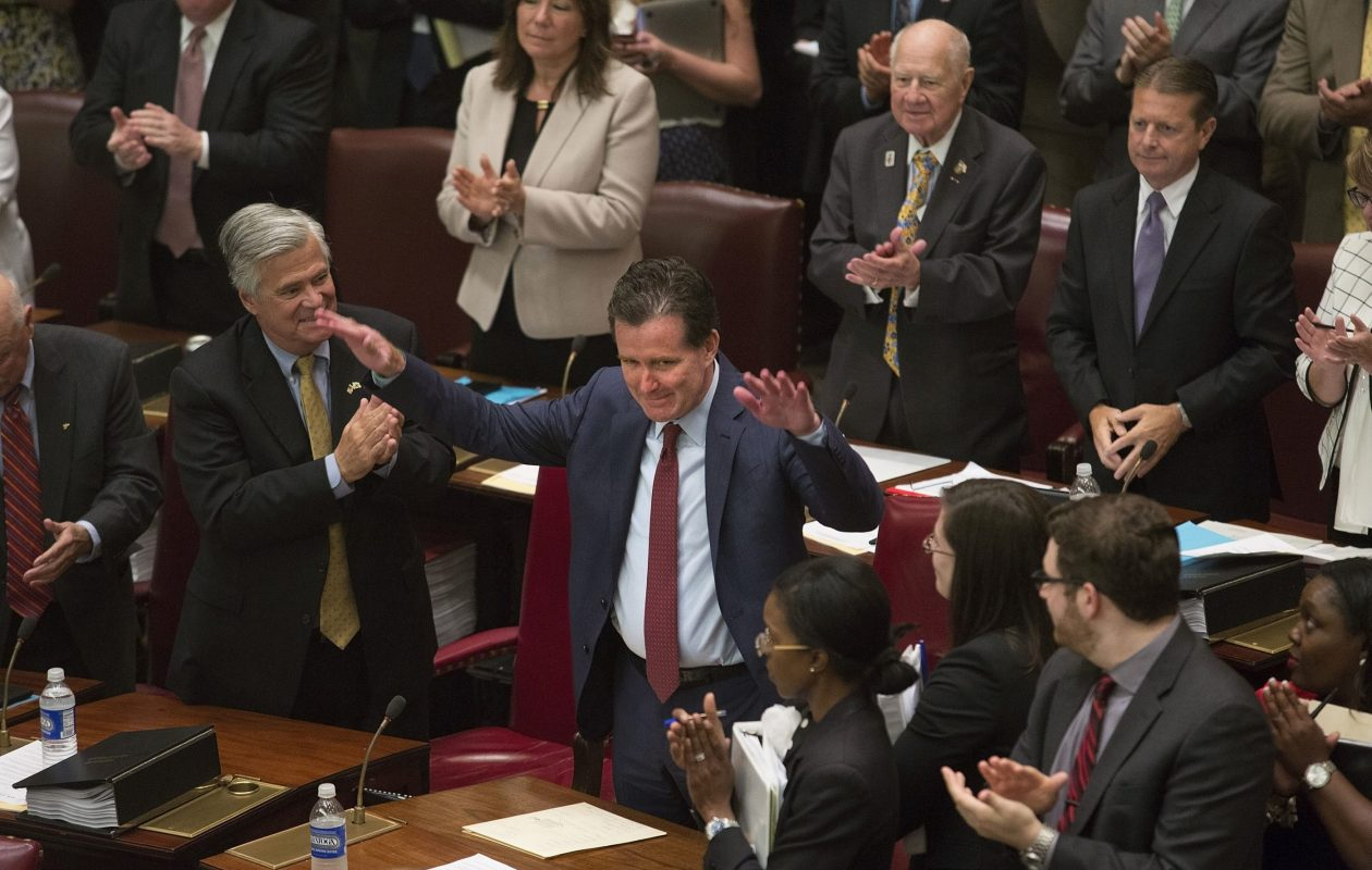 New York State Senate Majority Leader John Flanagan, a Republican from Long Island, celebrated after being named majority leader on May 11, 2015. (Nathaniel Brooks/The New York Times)