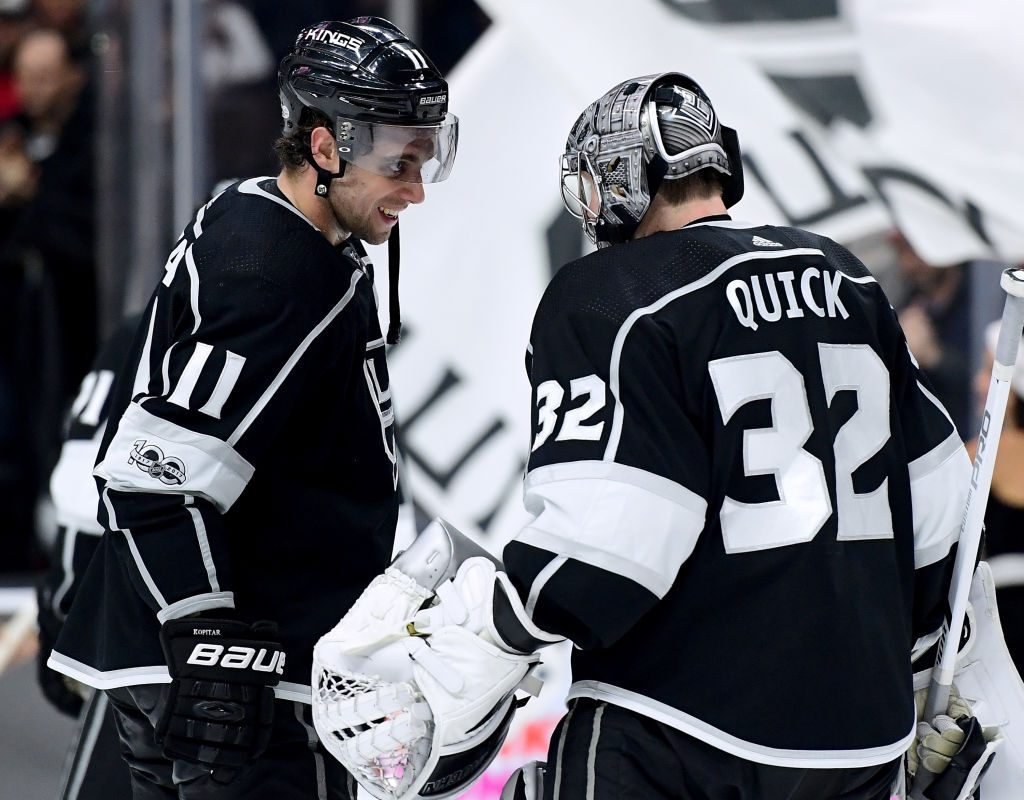 Anze Kopitar, left, and Jonathan Quick have had plenty to celebrate during the Kings' winning streak (Getty Images).
