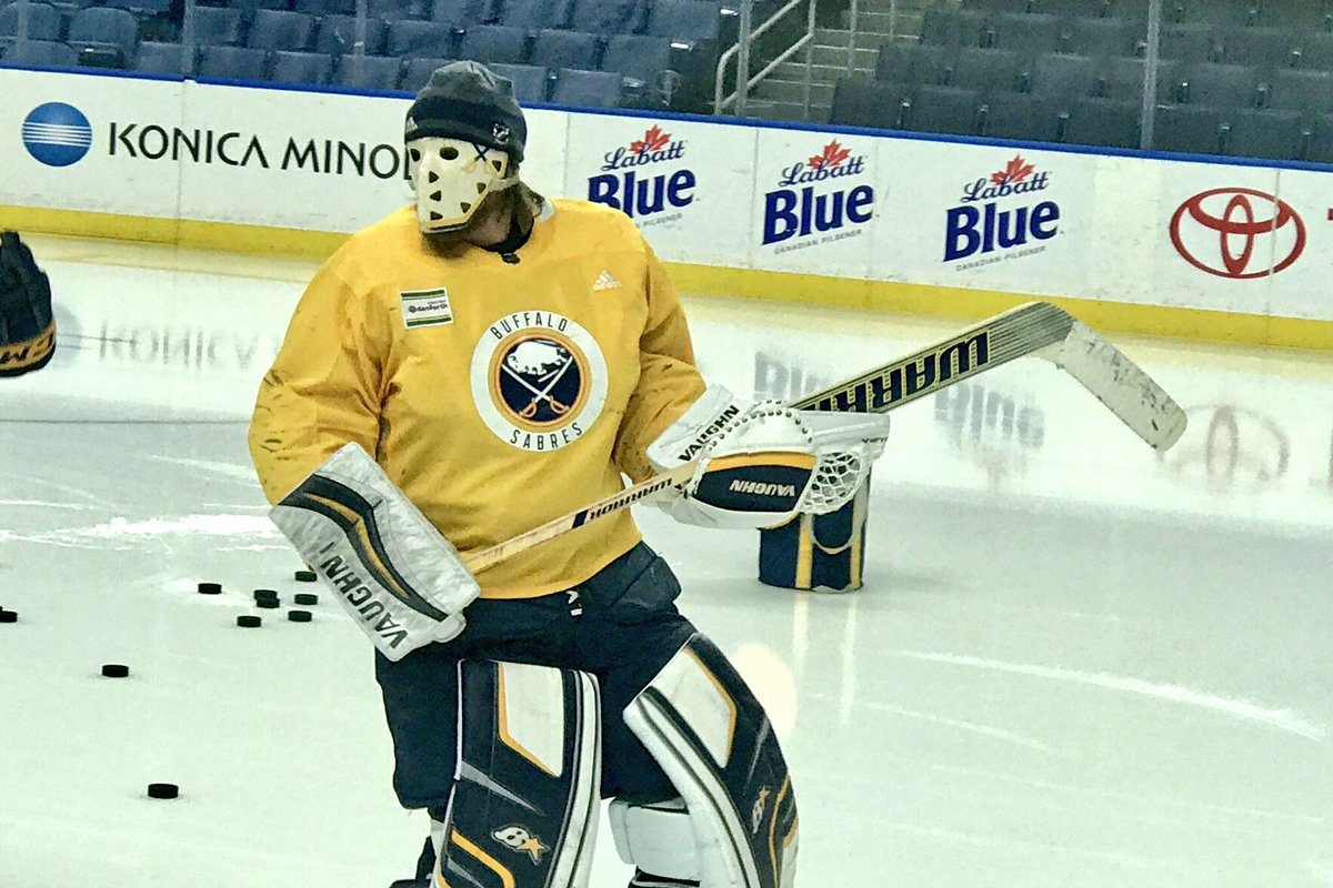 Robin Lehner sports a vintage Paul Harrison mask at practice Thursday (Buffalo Sabres photo).