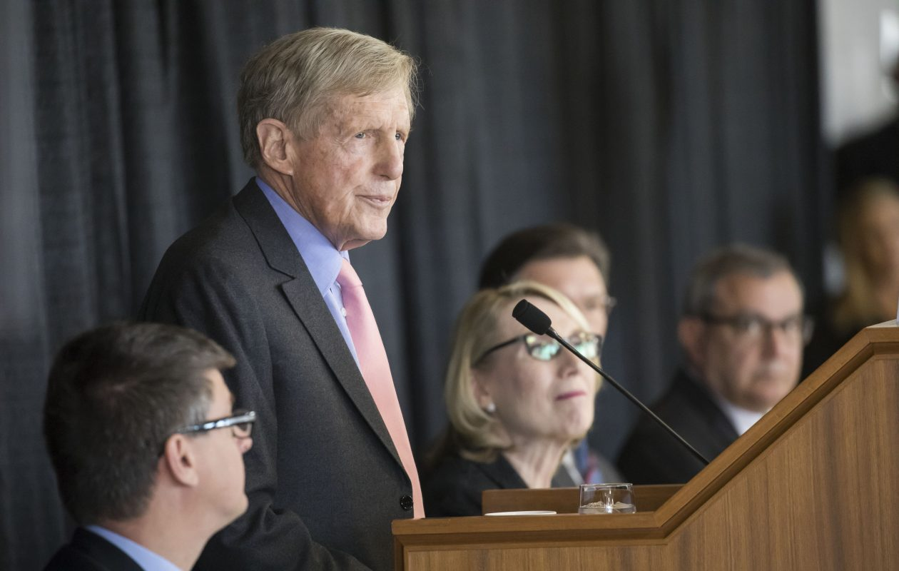 Robert Wilmers, chairman of M&T Bank Corporation, addresses shareholders at the company's annual meeting at One M&T Plaza in April.  (Derek Gee/ News file photo)