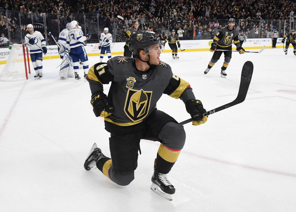 Jonathan Marchessault celebrates his second-period goal during the Golden Knights' 4-3 win over the Lightning in a showdown of two of the NHL's top teams. (Getty Images)