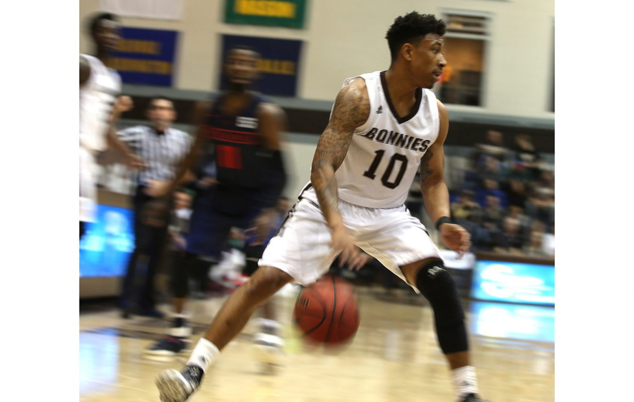 Jaylen Adams had one of the biggest wins of his career at St. Bonaventure on Dec. 22 when the Bonnies beat Syracuse, 60-57, in the Carrier Dome.  (James P. McCoy/News file photo)