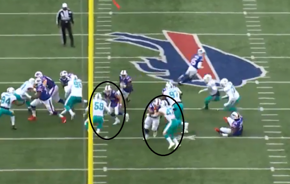 Bills center Eric Wood (right circle) and fullback Patrick DiMarco (left circle) pave the way for LeSean McCoy. (NFL Game Pass)