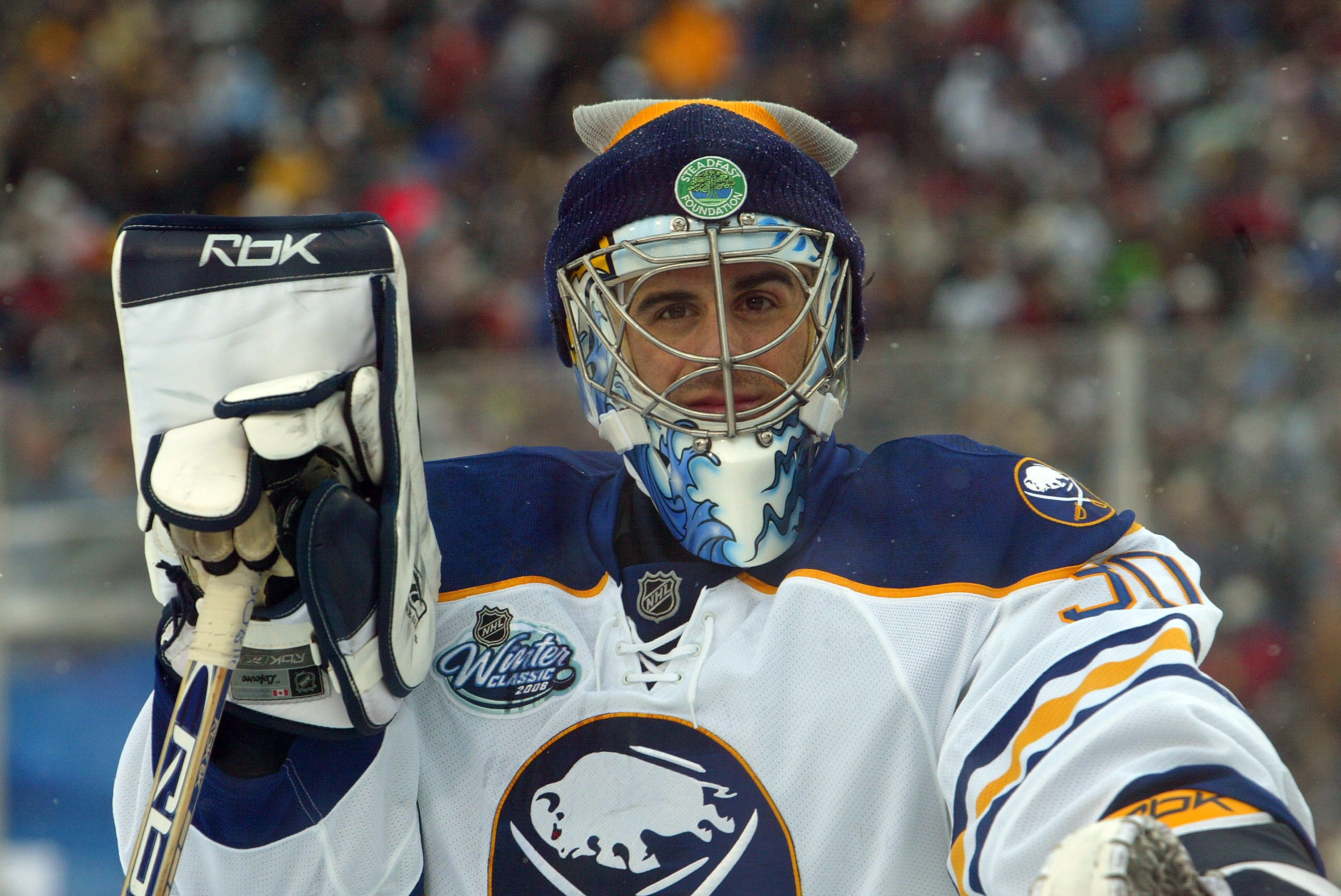 729f96985 Ryan Miller s 2008 Winter Classic toque had a Steadfast Foundation logo and  a Sabres logo (Getty Images).
