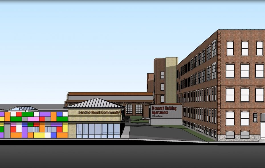 A rendering of the redeveloped Monarch Knitting Co. plant.