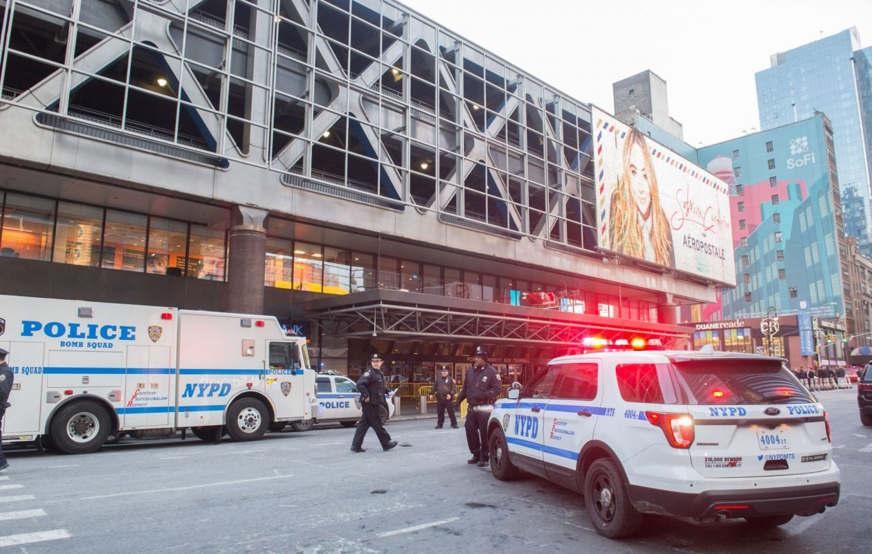 Police and other first responders respond to a reported explosion at the Port Authority Bus Terminal on Dec. 11, 2017, in New York. New York police said Monday that they were investigating an explosion of 'unknown origin' in busy downtown Manhattan, and that people were being evacuated. Media reports said at least one person had been detained after the blast near the Port Authority transit terminal, close to Times Square. (Bryan R. Smith/AFP/Getty Images)