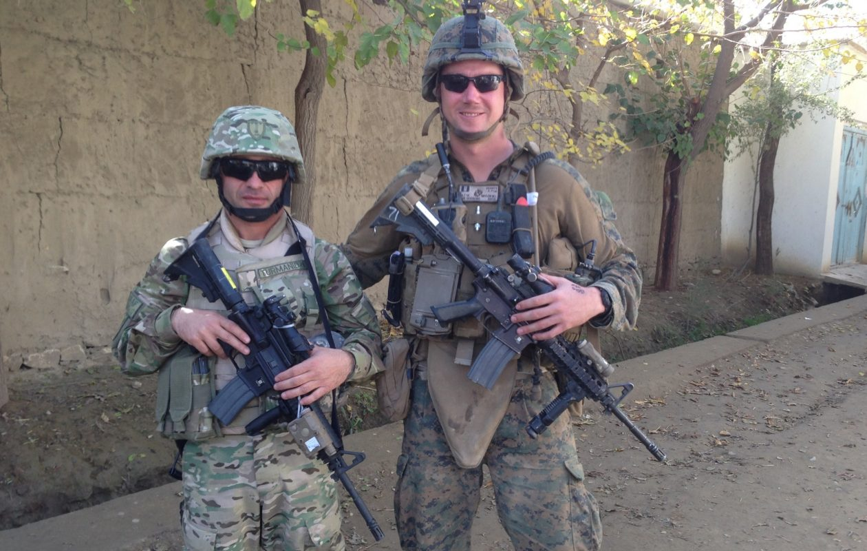 "Marine Capt. Maurice L. ""Chipp"" Naylon IV, right, patrols in Afghanistan with a Republic of Georgia officer. Building rapport with the Georgians before they headed to Afghanistan was the key to success, he said."