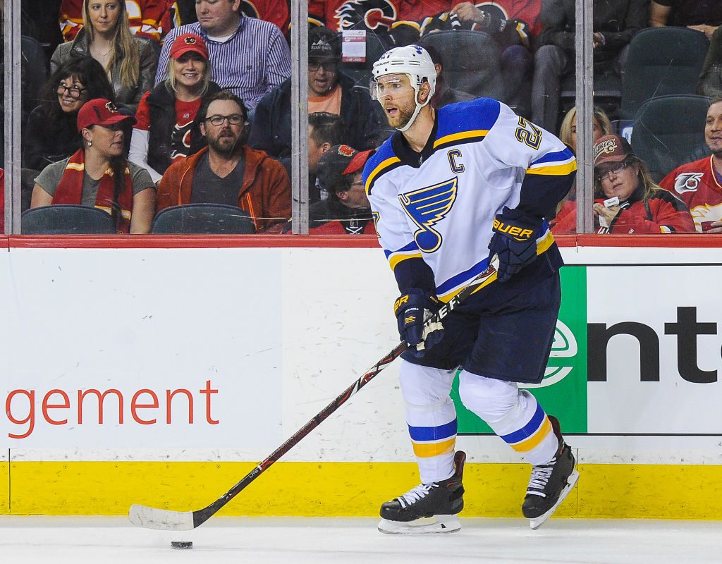Defenseman Alex Pietrangelo, above, and winger Jaden Schwartz will both be out of the St. Louis lineup tonight against the Sabres (Getty Images).