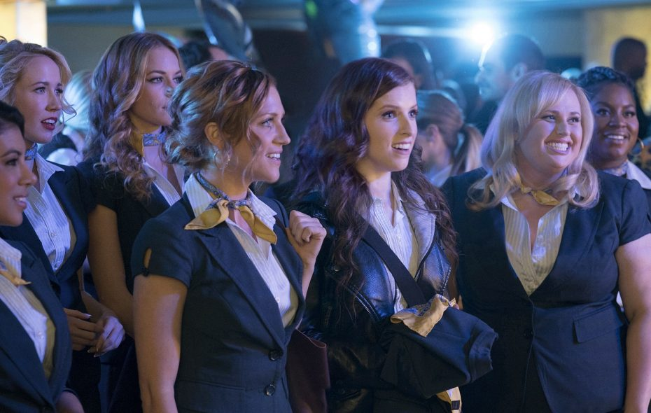 "From left to right: Flo (Chrissie Fit), Aubrey (Anna Camp), Stacie (Alexis Knapp), Chloe (Brittany Snow), Beca (Anna Kendrick), Fat Amy (Rebel Wilson) and Cynthia Rose (Ester Dean) in ""Pitch Perfect 3,"" directed by Trish Sie. (Quantrell D. Colbe/Universal Studios)"