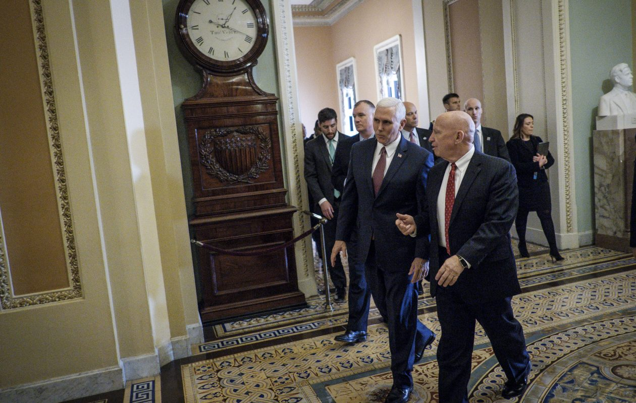 Vice President Mike Pence, left, and Rep. Kevin Brady (R-Texas), the chairman of the Ways and Means Committee, at the U.S. Capitol, Dec. 12, 2017. House and Senate Republicans have reached an agreement, in principle, on a consensus tax bill on Wednesday, keeping the party on track for final votes next week with the aim of delivering a bill to President Trump's desk by Christmas, according to people briefed on the deal. (New York Times)