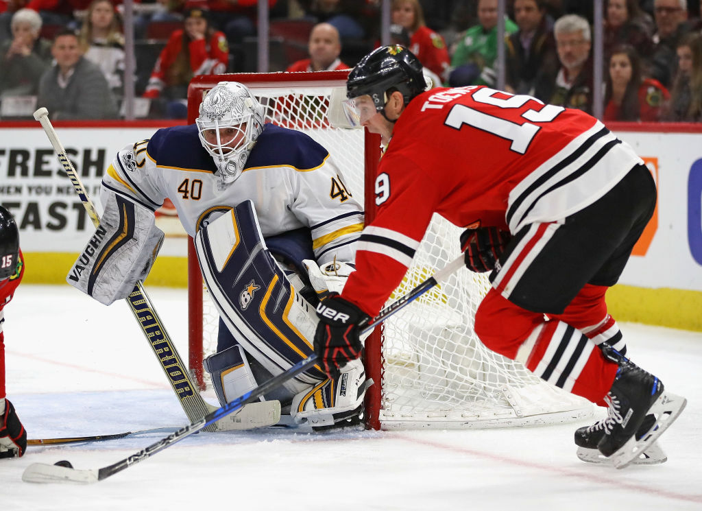 Robin Lehner made 48 saves Friday in Chicago, his highest total with the Sabres. (Getty Images)