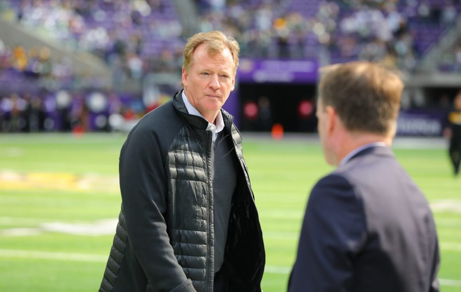 NFL Commissioner Roger Goodell walks off the field after warmups on Oct. 15, 2017, at US Bank Stadium in Minneapolis, Minn. (Getty Images)