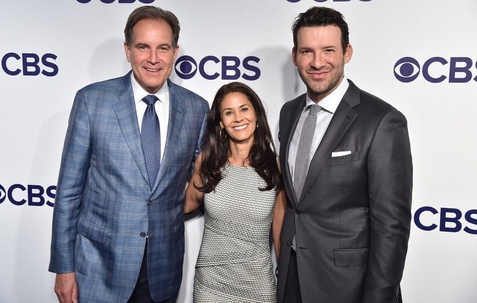 CBS' top football broadcast crew – Jim Nantz, Tracy Wolfson and Tony Romo. (Theo Wargo/Getty Images)